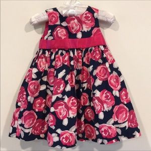 Gymboree navy and pink flowered dress 12/18 months